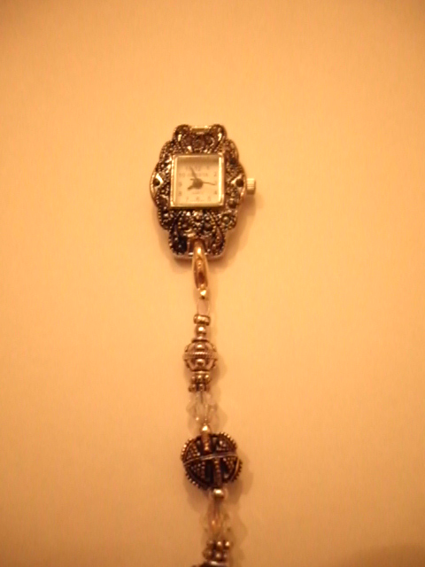 Marcasite watch, Swarovsky crystals and lead free pewter  beads.