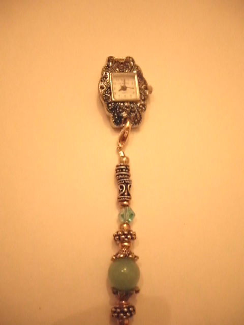 Marcasite watch, Swarovsky crystals, lead free pewter and Amazonite beads.