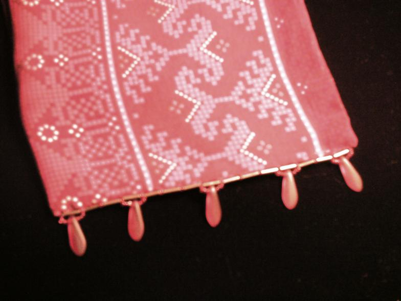 Dark red patterned scarf