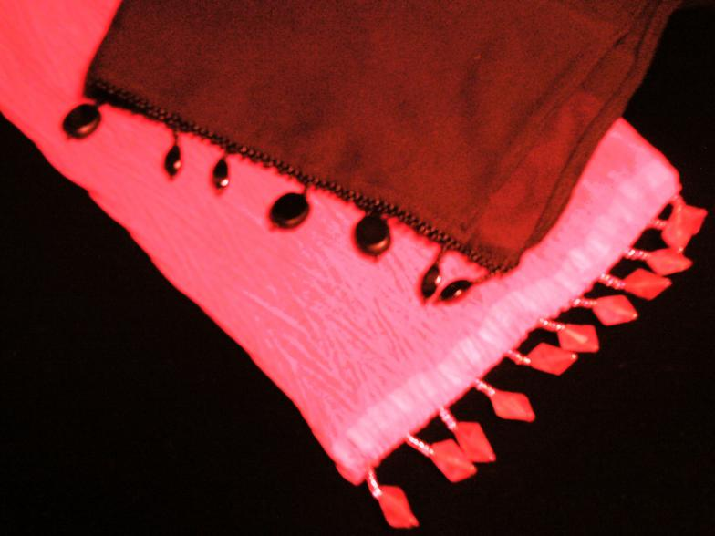 Shear magenta to pink graduated and black shear scarves